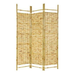 Oriental Furniture - 6 ft. Tall Burnt Bamboo Shoji Screen - Add a fun, practical, tropical flavor to your home with this Burnt Bamboo Shoji screen room divider. Please note, splitting in kiln dried bamboo poles can occur naturally and does not affect the structure of the screen, giving the screen a rustic look.