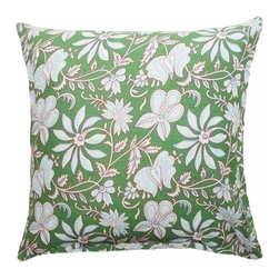 5 Surry Lane - Green Floral Indian Block Print Pillow - The beautiful art of block printing employs wooden or metal blocks to print designs and patterns on fabric, by hand.  The design is handcarved onto the block, dipped into the required color, and then used to design the fabric.  We're crazy about this authentic Indian block print pillow.  Its' distinctive appeal will infuse your home with a global twist.  Reverses to solid.  Down feather insert included.  Hidden zipper closure.  Made in the USA.