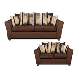 Chelsea Home Furniture - Chelsea Home Lizzy 2-Piece Living Room Set in Romance Brown/Kendu Onyx - Lizzy 2-Piece living room set in romance brown/kendu onyx belongs to Liberty collection by Chelsea Home Furniture