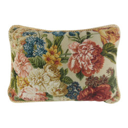 "www.pillowtalkdirect.com - 18"" x 27"" Cream Ground Flemish Floral - 18"" x 27"" Flemish Floral backed in cream cotton Damask."