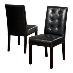 Great Deal Furniture - Gillian Black Leather Dining Chair (Set of 2) - Dine in style and elegance with the Gillian Leather Dining Chair. It features a tufted backrest, Upholstered in black bonded leather, and black stained legs.