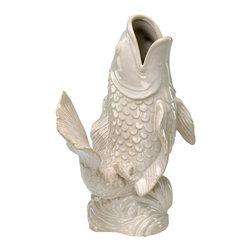 Cyan Design - Cyan Design 02331 White Koi Fish Vase - Cyan Design 02331 White Koi Fish Vase