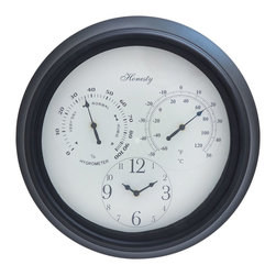 Outdoor Clock Detailed with Bold Numerals in Black Font - Easy to fit on the walls of your porch, this vintage designed clock will infuse great charm to your living space. With its large roman numerals in bright hue of blue, it is easy to read the time at a glance even from a distance. Moreover, the black colored minute and hour hands stand out brightly in contrast to the large, off-white dial. The broad frame is made of sturdy metal and is enriched with fine artwork and floral carvings. The frame is sturdy and durable, and crafted with a weathered finish that makes it look rustic. Grant a stylish and rustic touch to your living space by adoring the outside wall of your home or put it up in your garden near your swimming pool with this resplendent outdoor clock. While the frame is built with high quality metal, the clock mechanism is created with high standard that lasts for a long time to come. It comes with a following  dimension