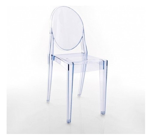 Kartell - Victoria Ghost Chair, Set of 2, Transparent Light Blue - Lighten up your look with this modern interpretation of a classic Louis XV chair. The medallion-shaped backrest and linear seat are cast in clear polycarbonate, giving it a transparent, almost ghost-like appearance. It's a sleek, sophisticated seating option that sits well in practically any setting — indoors or out.