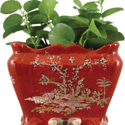 Oriental Danny - CRIMSON COURTYARD RECTANGULAL PLANTER - Bring elegant Asian style to your decor with this delicately hand-painted porcelain basin. A tree in bloom with several figures lounging around it in a courtyard are beautifully depicted on a crimson background. This planter would look lovely on your side table or incorporated into your serveware.