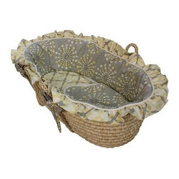 Hoohobbers Moses Basket - Burst Sterling - Who says playful can't be sophisticated as well? The Hoohobbers Moses Basket - Burst Sterling with a lightly rendered print in a grownup color palette is perfectly suited for the baby's room and living room alike. With sturdy handles it's easy to transport between rooms too. Crafted with durable woven material this Moses basket is lined with super-soft long-lasting bedding in 100% cotton flannel - a bumper sheet plus cushion and double-sided blanket are included all in cool starburst and wave prints in shades of soft yellow white and grey. Both the basket and bedding is machine washable for easy care. Simply remove the formed bumper insert to ensure it holds its shape gently wash and dry the cover with the other pieces and slip the insert back inside the freshly laundered cover. Suggested use for newborns.About HoohobbersBased in Chicago Hoohobbers has designed and manufactured its own line of products since 1981 beginning with the now-classic junior director's chair. Hoohobbers makes both hard goods (furniture) and soft goods. Hoohobbers' hard goods are not your typical furniture products; they fold are lightweight and portable and are made to be carried by children all around the house. Even outdoors Hoohobbers' hard goods are 100 percent water-safe. At the same time they are plenty durable and can take the abuse children often give. Hoohobbers' soft goods are fabric items ranging from bibs to bedding from art smocks to Moses baskets.Hoohobbers' products are recognized by independent third parties for their quality and performance. Hoohobbers has received Best Design Awards from America's Juvenile Products Association each time selected from more than 20 000 products. Hoohobbers has also received the Parents' Choice Award and no Hoohobbers product has ever been subject to consumer recall. Furthermore the company's products are often featured in leading women's and children's publications.