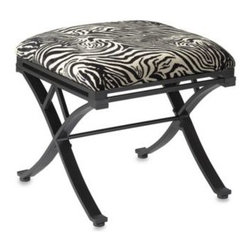 Linon Home - Zebra Vanity Stool - Metal stool has a stylish zebra fabric seat and is a fun addition to any vanity. It can also be used for additional seating.