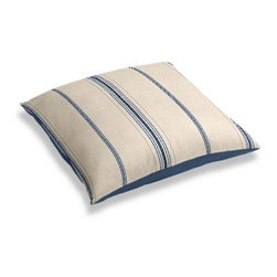 Blue Feedsack-Style Cotton Stripe Custom Floor Pillow - A couch overflowing with friends is a great problem to have.  But don't just sit there: grab a Simple Floor Pillow.  Pile em up for maximum snugging or set around the coffee table for a casual dinner party. We love it in this classic rustic blue and tan feedsack style stripe made in super soft woven cotton.  Bye bye scratchy burlap!