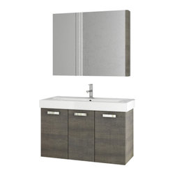 ACF - 37 Inch Grey Oak Bathroom Vanity Set - Add this designer, contemporary bath vanity to your already contemporary personal bathroom.