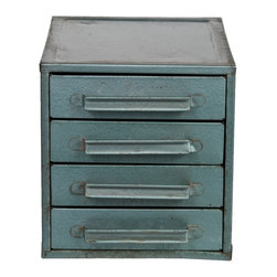 Metal Mini Storage Box - Vintage painted steel four-drawer mini tool storage cabinet in very good condition. Three divided drawers, one open drawer.