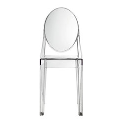 East End Imports - Philippe Starck Style Ghost Side Chair - Combine artistic endeavors into a unified vision of harmony and grace with the ethereal Ghost Chair. Allow bursts of creative energy to reach every aspect of your contemporary living space as this masterpiece reinvents your surroundings. Surprisingly sturdy and durable, the Philippe Starck Style Ghost Arm Chair is appropriate for any room or outdoor setting. Pure perception awaits, as shining moments of brilliance turn visual vacuums into new realms of transcendence.