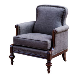 "Uttermost - Uttermost Hooper English Armchair - Hooper English Armchair by Uttermost English Style Library Chair With Meticulous Details In The Hand Carved, Dark Hickory Finished Frame, Petite Rolled Arms And Double-fold Edging Under Antique Brass Accent Nails. Fabric Is Woven Polyester In Asphalt. Seat Height Is 21""."