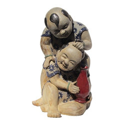 Golden Lotus - Vintage Chinese Handmade Ceramic Kid Playing Figure - This is an old hand made ceramic Chinese kids figure with natural earthy glaze. The facial expression of the kids is so lively and joyful.