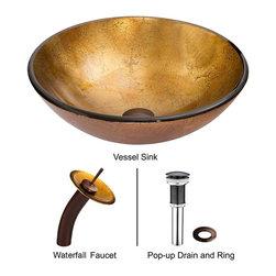 Vigo - Vigo Liquid Gold Glass Vessel Sink and Waterfall Faucet Set, (VGT019RBRND) - Vigo VGT019RBRND Liquid Gold Glass Vessel Sink and Waterfall Faucet Set, Oil Rubbed Bronze