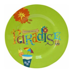 """WL - 7 Inch Green """"Another Day in Paradise"""" Tropical Motif Lunch Plate - This gorgeous 7 Inch Green """"Another Day in Paradise"""" Tropical Motif Lunch Plate has the finest details and highest quality you will find anywhere! 7 Inch Green """"Another Day in Paradise"""" Tropical Motif Lunch Plate is truly remarkable."""