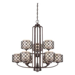 Nuvo Lighting - Nuvo Lighting 60/4569 Margaux Nine Light Chandelier - Nuvo Lighting 60/4569 Margaux Nine Light Chandelier with Chestnut Glass, in Patina Bronze FinishMargaux's style is derived from a mid-century modern design - kicked up a notch. Available in highly Polished Nickel with Satin White glass shades or Patina Bronze with Chestnut glass shades. In either finish, Margaux delivers timeless beauty.Nuvo Lighting 60/4569 Features: