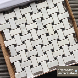 Carrara (Carrera) Venato Honed 1x2 Dogbone Basketweave Marble Mosaic - Premium Carrara Venato Dogbone Basketweave Mosaic Tile.  Available online in honed and polished from The Builder Depot for just $12.95/SF.
