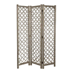 Uttermost Quatrefoil Burnished Floor Screen - Burnished aluminum with darkened gray undertones. This decorative floor screen features an open, scroll work design with a finish of burnished aluminum with darkened gray undertones.