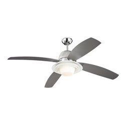 """Monte Carlo - Monte Carlo Icon 4 Blade 52"""" Ceiling Fan - Blades, Light Kit, Bulbs, & Wall Co - Features:"""