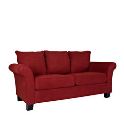 PORTFOLIO - Portfolio Provant Flared Arm Crimson Red Microfiber Sofa - This Portfolio Provant sofa features stain-resistant microfiber upholstery for style and durability. With foam cushioning and pocketed coils, this sofa also offers comfortable seating as well as high performance.