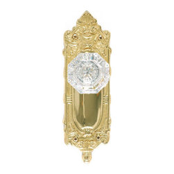 Victorian Rococo Plate with Hartford Crystal Knob Set - Privacy, Passage and Dum - Magnificent shells, flowers, ribbons and reeds encase the Victorian Rococo Plate, while the high quality pressed and polished Hartford Crystal Knob features wide facets for light reflection.