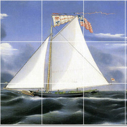 Picture-Tiles, LLC - American Eagle Tile Mural By James Bard - * MURAL SIZE: 36x60 inch tile mural using (15) 12x12 ceramic tiles-satin finish.