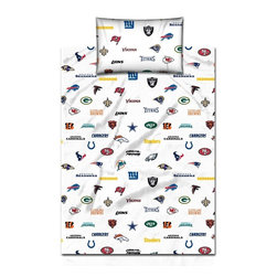 NFL - NFL Twin Size Cotton Sheet Set - With all thirty-two NFL teams displayed,these sheets make it easy for you to support the great sport of football. Crafted with soft cotton fabric,this white twin-size bedding will bring fierce game to your home decor.