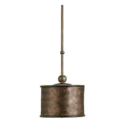 Currey and Company - Veneta Pendant - Veneta Pendant is constructed of woven sheet metal bands in Old Iron and Cupertino finishes.  Pendant comes standard with a swivel option for mounting on a slanted ceiling.  Also available in a chandelier version.  One 100 watt 120 volt medium base incandescent lamp not included.  11 inch diameter x 51 inch overall height.