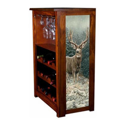 Kelseys Collection - Wine Cabinet 15 bottle Snowy Ridge - Wine Cabinet stores fifteen wine bottles and glassware with licensed artwork by Rosemary Millette giclee-printed on canvas side panels  The frame, top, and racks are solid New Zealand radiata pine with a hand stained and hand rubbed medium reddish brown finish, which is then protected with a lacquer coat and top coat. The art is giclee printed on canvas with three coats of UV inhibitor to protect against sunlight, extending the life of the art. The canvas is then glued onto panels and inserted into the frames.