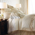 SFERRA - SFERRA Scroll-Pattern King Duvet Cover - Serenity slips in by way of a calming palette of white and ivory with subtle detailing to keep it interesting. We began with a jacquard-woven scroll pattern on sateen duvet covers and shams, all finished with hemstitch details, then added diamond-patter...