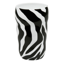 Konitz - Set of 2 Double-Walled Grip Mugs Zebra - Release your inner wild side with this animal print mug. Features black-and-white zebra design. The Grip Mug is double-walled, keeping the beverage inside hot and your hand comfortably cool. Organic shape fits your hand perfectly without a handle.