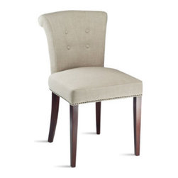 Grandin Road - Set of Two Arion Chairs - From Safavieh Home Furnishings. Beechwood frame and legs. 100% linen upholstery. Spot clean. Arrives fully assembled. Our Set of Two Arion Chairs make a beautiful conversation piece in any home, with their smooth lines and unique design. This chair's tufted back and chrome nailhead trim add detailed interest.  .  .  .  .  . Imported.