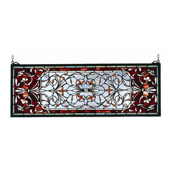 Meyda Tiffany - Meyda Tiffany Meyda Originals Window Sill Tiffany Window Art in Tiffany Items - Shown in picture: Versaille Transom Stained Glass Window; A Pomegranate Red Border Is Centered Over A Frosty Blue Field With Flowers And Flourishes Of Wispy White And Amber Jewels. This Meyda Tiffany Classic Transom Window Is Created Of 512 Hand Cut Pieces Of Stained Art Glass. The Solid Frame Is Made Of The Same Brass As The Hanging Bracket And Chains That Are Included With This Window.