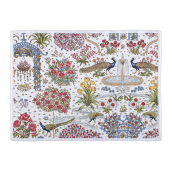 KAF Home - Paradis Quilted Placemat, Set of 4 - This exquisite placemat features a colorful and artistic design that transforms any dining table into a culinary paradise. Proud peacocks strut through a lush garden, bringing with it a sense of life and vitality.