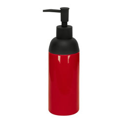 Porcelain Non Slip Soap Dispenser - 15oz, Red - Beautiful tall porcelain soap dispenser with unique non slip matte finish black pump.  Really beautiful and practical.  The shiny porcelain finish is flawless.  This is a large volume soap dispenser holding 15oz. Fewer refills. Designed and produced in Germany. Dispenser (W) 2.6in x (H) 8.6in - Holds 15oz of soap or lotion.