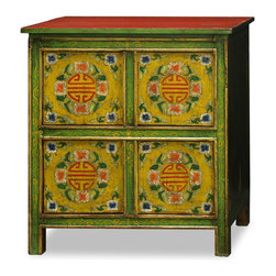 "China Furniture and Arts - Hand-Painted Tibetan Chest - Adopted from Tibetan Art, this cabinet is uniquely hand painted with a vibrant floral motif design and long life symbols on the front. Ample storage is provided by two double door compartments each measuring 25"" W x 12""D x 14.5""H. Perfect for the foyer, living room, and bedroom. Fully assembled."