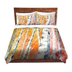 DiaNoche Designs - Duvet Cover Microfiber by Brazen Design Studio - Falling For Colour - DiaNoche Designs works with artists from around the world to bring unique, artistic products to decorate all aspects of your home.  Super lightweight and extremely soft Premium Microfiber Duvet Cover (only) in sizes Twin, Queen, King.  Shams NOT included.  This duvet is designed to wash upon arrival for maximum softness.   Each duvet starts by looming the fabric and cutting to the size ordered.  The Image is printed and your Duvet Cover is meticulously sewn together with ties in each corner and a hidden zip closure.  All in the USA!!  Poly microfiber top and underside.  Dye Sublimation printing permanently adheres the ink to the material for long life and durability.  Machine Washable cold with light detergent and dry on low.  Product may vary slightly from image.  Shams not included.