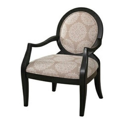 "PWL271-607 - Batik Pearl Black Finish Framed Accent Chair - Batik Pearl black finish Framed Accent Chair.  The Batik Pearl black Framed Chair has a smooth, streamlined frame and versatile design. The generous sized seat and rounded chair back are both upholstered in a neutral colored Batik Patterned Fabric. The chair frame has a dark black finish that pops against the upholstery. Perfect for adding to any area of your home, the chair will add style and function to your decor.  Material Content: Fabric - 100% polyester.  Chair measures:  26-1/2"" x 28-1/2"" x 38"" tall."