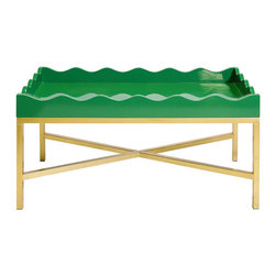 "Worlds Away - Worlds Away Emerald Green Lacquered Scalloped Tray On Gold Leafed ""X"" Base JENNA - Worlds Away Emerald Green Lacquered Scalloped Tray On Gold Leafed ""X"" Base JENNA GRG"