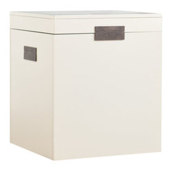 Southern Enterprises - Southern Enterprises Aspen End Table Trunk in Painted White Finish - Southern Enterprises - End Tables - CK4225 - Find the answer to your storage and decor needs in one with this contemporary end table trunk. There's no need to waste valuable closet space when your end table can provide ample storage hidden in plain sight.  The trunk table features a lovely painted white finish and simple squared design; the handles fold flat to the sides keeping the linear design continuous. The trunk lid lifts to reveal a large storage area ideal for pillows blankets and other everyday items. Add this simple but beautiful trunk end table to homes with transitional to modern decor for a great addition of storage and style. This end table adds charm to any living room or family room but would be a great addition for bedroom storage too!Please note: Our photos are as accurate as possible but color discrepancies may occur between the product and your monitor. The handcrafted touch of artisan skill also creates variations in color size and design; slight differences should be expected.