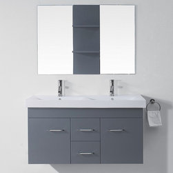VIRTU - Virtu USA Opal 48-inch Grey Double Sink Vanity Set - The modern design,Opal vanity,is the ultimate choice for a multi-user compact bathroom. The vanity features an integrated ceramic basin resting above the main cabinet.
