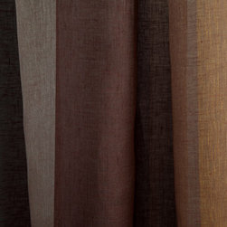 Linen Sheer Vertical Stripe Drapery in Walnut - Linen Sheer Vertical Stripe Drapery Fabric in Walnut Brown. Striped fabric ideal for drapes, curtains, and other window treatments, or bed canopy.