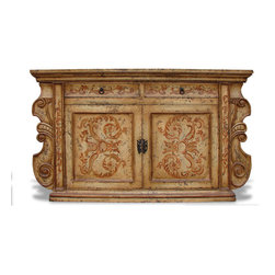 Koenig Collection - Old World French Sideboard Manchester, Mocha Distressed - Manchester Sideboard, Mocha Distressed with Espresso and Gold Scrolls