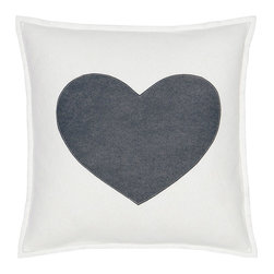 "Eastern Accents - Spell It Out Heart Pillow - Featuring a grey heart on a white background, the Spell It Out felt pillow brings a typographic touch to a sofa, chair or bed. This on-trend accent creates a personalized look when displayed individually or with other letters and symbols (available separately). Handcrafted for the modern home, this decorative pillow charms with its unique fabrication, simple design and neutral color palette. 16"" Square; Hand-cut felt piecing; High quality polyester fiber pillow insert included; Zipper closure"