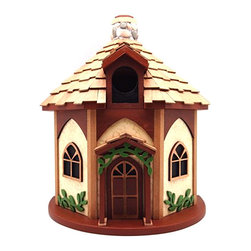 Home Bazaar - Yorkshire Cottage Birdhouse - With arched medieval windows and ivy crawling around its walls, this exquisite birdhouse invites feathered friends to enter into an unpainted nest box fully equipped with ventilation and proper drainage holes. It features red cedar shingles, a stone chimney and an outdoor, water-based nontoxic paint that poses absolutely no risk to wildlife.   7.13'' W x 9.75'' H x 6.13'' D Entry hole: 1.25'' diameter Walls, floor and roof board: exterior grade ply-board Details: kiln-dried hardwood / pine / polyresin Shingles: red cedar Chimney: stone Water-based nontoxic paint Spray clean Imported