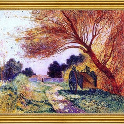"""Ferdinand Du Puigaudeau-18""""x24"""" Framed Canvas - 18"""" x 24"""" Ferdinand Du Puigaudeau Cart by the Path framed premium canvas print reproduced to meet museum quality standards. Our museum quality canvas prints are produced using high-precision print technology for a more accurate reproduction printed on high quality canvas with fade-resistant, archival inks. Our progressive business model allows us to offer works of art to you at the best wholesale pricing, significantly less than art gallery prices, affordable to all. This artwork is hand stretched onto wooden stretcher bars, then mounted into our 3"""" wide gold finish frame with black panel by one of our expert framers. Our framed canvas print comes with hardware, ready to hang on your wall.  We present a comprehensive collection of exceptional canvas art reproductions by Ferdinand Du Puigaudeau."""