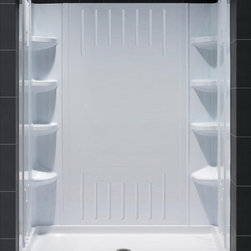 DreamLine - DreamLine QWALL-3 Shower Backwall Kit - DreamLine universal shower wall panels are both a functional and beautiful addition to any shower. These versatile shower wall panels are made of Acrylic/ABS advanced materials, are designed for quick install and engineered to trim-to-size for most DreamLine enclosures. Ceramic tile walls for shower enclosures may look good, but are very difficult and expensive to install and even tougher to take care of. DreamLine shower wall panels install in hours and are easy to maintain and enjoy for years to come. Product Type: Shower Backwall Kit,  Color: White,  Assembly required,  6 integrated corner shelves,  2 convenient corner foot rests,  Unique water tight connection of 2 sidewalls, 2 corner panels and 1 back panel,  Trim-to-Size sidewall designed for shower base installation from 29 7/8 in. to 40 1/2 in.,  Height of glass should not exceed 72 7/8 in.,  Optional single threshold fiberglass reinforced Acrylic /ABS base ABS base,  These acrylic wall systems are specially designed to be installed over existing solid surface not directly against the studs,  Shown with optional baseProduct Warranty:,  Limited 1 (one) year manufacturer warranty