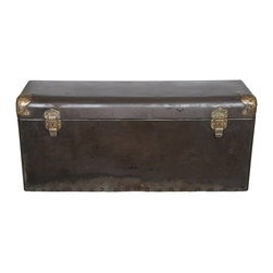 Metal Trunk Storage Box - Very rare antique salvaged and refurbished steel automobile trunk from the early 1900's.