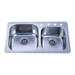 Kingston Brass - Double Bowl Self-Rimming Kitchen Sink - The double bowl self-rimming kitchen sink features two Large symmetrical basins, pre-drilled in a four hole configuration. The wide space and depth of the two basins allows ample space for washing and draining your pots and pans and makes washing pots and pans and preparing food an easy task. The kitchen sink is made of high quality stainless steel and is fully protected by a heavy-duty sound deadening pad to minimize noise while washing your dishes in the sink. Available in a variety of finishes for improving your decor.; Long-lasting and easy to clean; Includes a sound-deadening pad and full undercoating for sound absorption.; 18-gauge thickness with 4 pre-drilled faucet holes; Exposed surfaces are hand-polished to a lustrous brushed nickel finish; Double bowl design; Material: Stainless Steel; Finish: Brushed Nickel; Collection: Gourmetier