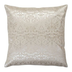 "Z Gallerie - Sauvignon Pillow 22"" - Elevate the comforts of your home with the addition of our stunning Sauvignon Pillow. The traditional motif, created in rich tonal hues with a luminescent quality, lends to the pattern's refined appearance. Exclusive to Z Gallerie, our Sauvignon Pillow measures a generous 22 inches square and is filled with a sumptuous feather blend insert. Designed with a faux leather front and poly satin back our Sauvignon Pillows are available in two colors, Blush and Silver. For ease of use, hidden zipper closure ensures easy access."
